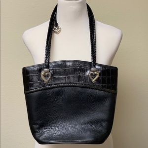 Vintage Brighton alligator black leather handbag